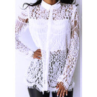 Fashion Inwrought Hollow Out Lace Flower Printed Colour Shirt