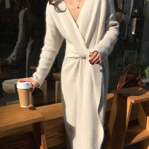 Fashion V Neck Cross Bandage Slim Knitted Dresses
