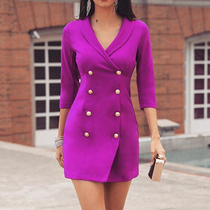Double-Breasted Mid-Length Sleeve Dress