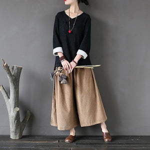 Corduroy Retro Literary Wash Wide-Leg Trousers