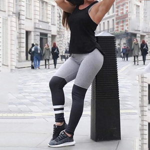 Yoga Pants With Black And Grey Hoop Stitching