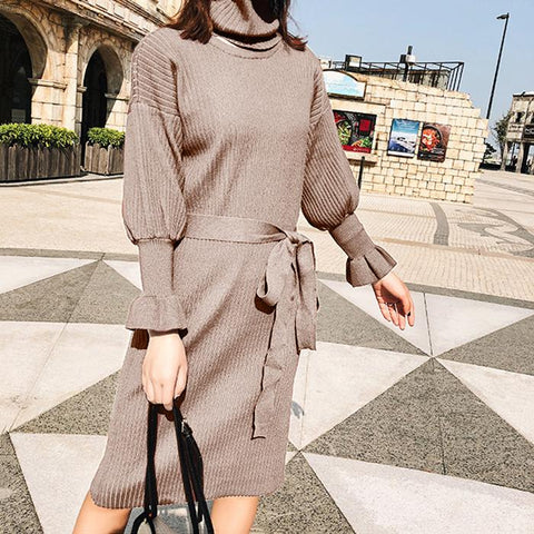 Solid Color Slinky Mid-Length Long Knit Dress