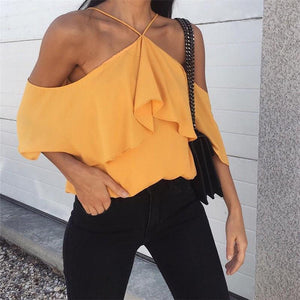 Casual Sexy Sling   Backless Pure Color Shirt Blouse