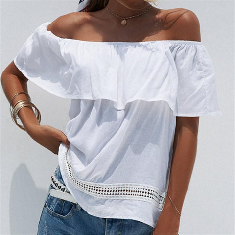 Casual Loose Sexy Boat   Neck Hollow Out Shirt Blouse