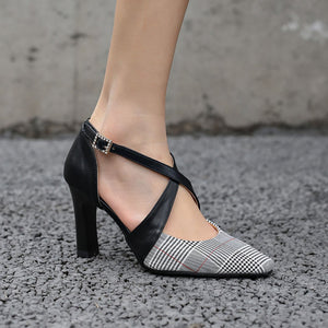 Coloured Plaid Pointed High Heel Sandals