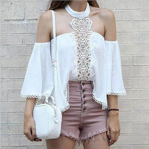 Casual Sexy  Off The Shoulder Lace Splicing Chiffon  Shirt
