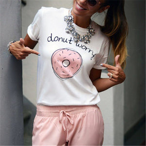Casual Round Collar Pink Doughnut Printed Summer Top