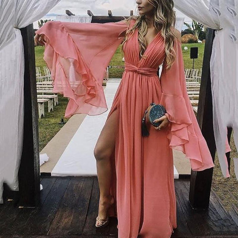 Fashion Pure Colour Bell Sleeve Maxi Dress