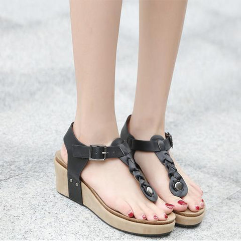 New Versatile High-Heeled Woven Buckle Women's Sandals
