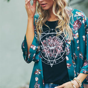 Plant Printed Jacket Cardigan