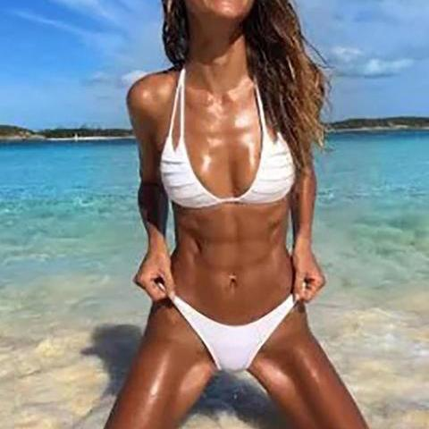 Solid Color Perspective Hanging Neck Sexy Bikini