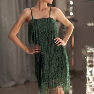 Sexy Spaghetti Strap Bodycon Tassel Mini   Evening Dress
