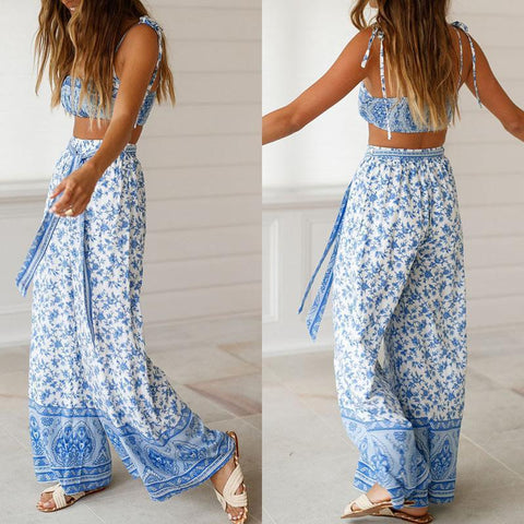 Summer Sexy Strap-Wrapped Broadlegged Trousers Suit