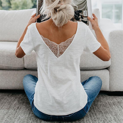 Sexy Deep V Collar Plain Lace Border Blouses