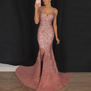 Women's Elegant V Neck Split Mermaid Evening Dress Sexy Special Occasion Dress