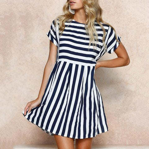 Round Neck Short Sleeve Striped Loose Large Size Dress