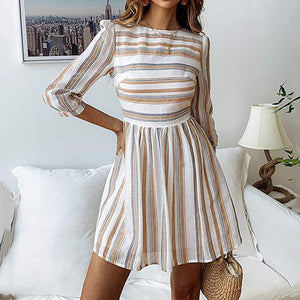 Fashion Wild Print Striped Round   Neck Sleeve Dress
