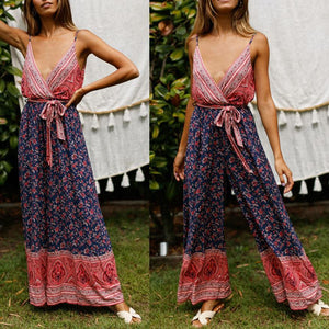 Sexy Sling Straps Backless Print Jumpsuit