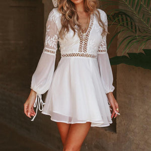 Sexy V-Neck Halter Lace   Stitching Long Sleeve Mini Dress