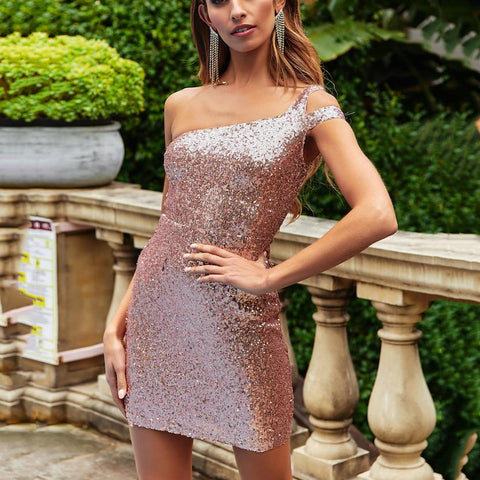 2019 Summer Sexy Wrapped Chest   Sequined One-Piece Skirt Dress
