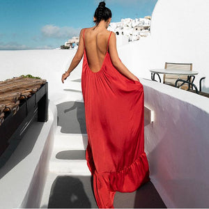 (Video)New Sleeveless Backless Loose Dress Maxi Dress