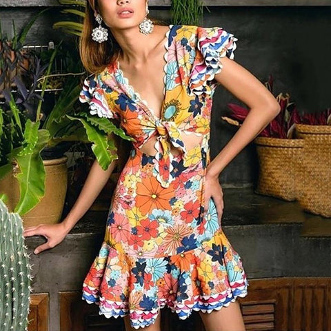Women's Print V-Neck Short Sleeve Cutout Dress
