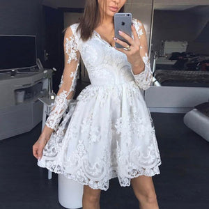 Sexy V-Neck Lace Princess Dress