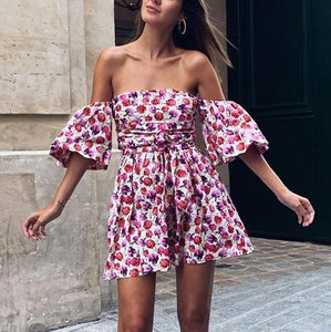 Off-The-Shoulder Loose Printed Mini Dress(Video)
