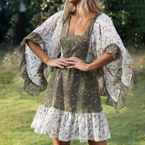 Casual Floral Printed Ruffled Batwing Sleeve Dress(Video)