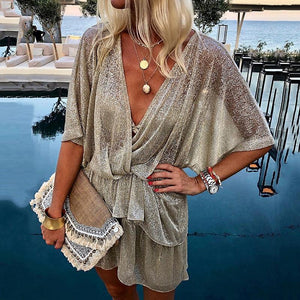 Fashion Paillette Batwing Sleeve V Neck Ruffled Casual Mini Dress