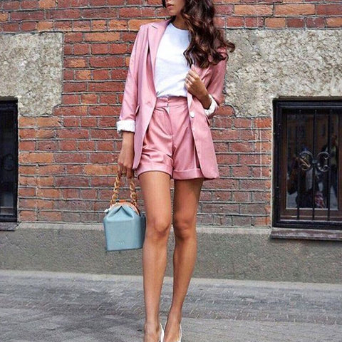 Casual Solid Color Long Sleeved Suit Jacket And Shorts Suit
