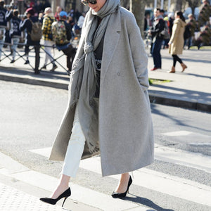 Women's Commuting Pure Color Long Sleeve Turndown Collar Overcoat