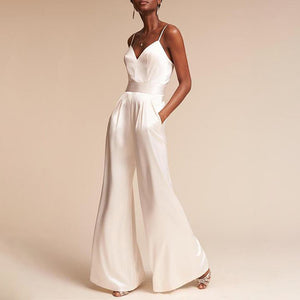 Brief Sling Sleeveless Pure Colour Elastic Jumpsuit