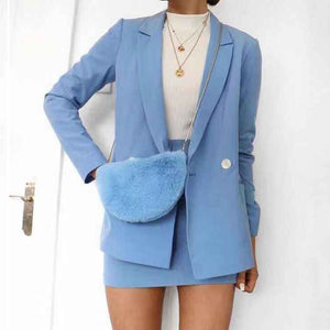 Fashion Flip Collar Long Sleeve Decorative Buckle Suits