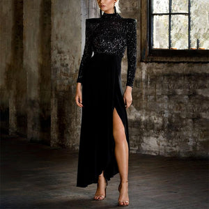 Individuality Bare Back Split Paillette Evening  Dress