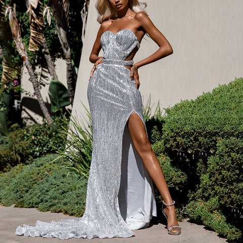Sexy Bare Back Paillette Long Dress