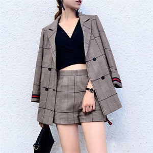 Fashion Turndown Collar Check Long Sleeve Suit
