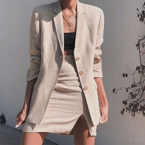 Casual Turndown Collar Pure Colour Long Sleeve Suit