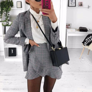 Fashion Fold Collar Collar Plaid Ruffled Suit