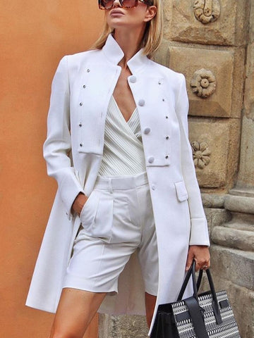 England Style Stand Collar Long Sleeve Pure Colour Blazer