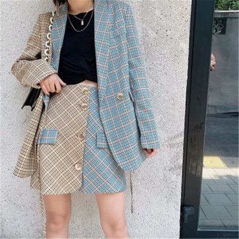 Retro Plaid Color Matching Casual Set