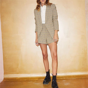Ladies' Fold Collar Houndstooth Suit