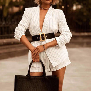 Fashion Sexy Deep V Neck Lapel Waist Belt Striped Suit