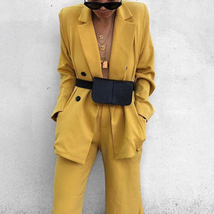 Fashion Solid Color Flip Collar Long Sleeve Button Suit
