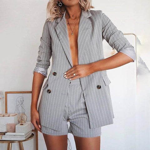 Casual Flip Collar Striped Double-Breasted Long-Sleeved Suit Shorts Suit