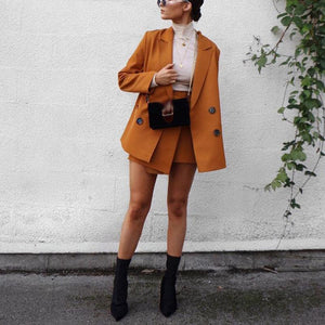 Fashion A Lapel Solid Color Long Sleeve Suit With Dress