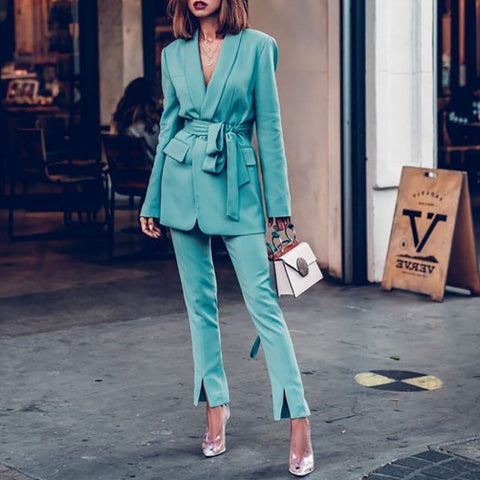 Elegant Lapel Pure Long Sleeves High Waist Trousers Suit