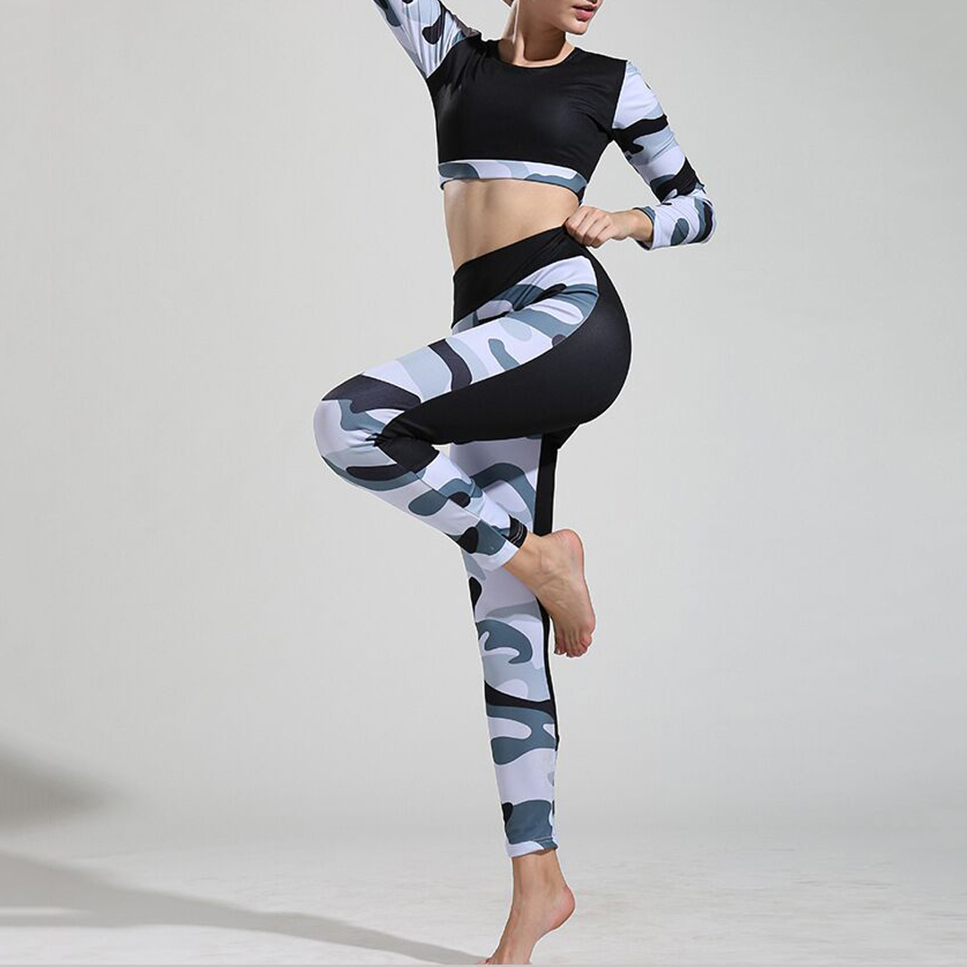 Yoga Suit Camouflage Suit Casual Stitching High Waist