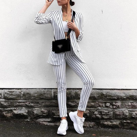 Casual Turndown Collar Long Sleeve Stripe Trousers Suit