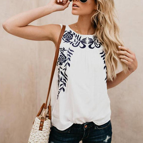Fashion Embroidery, Blue Embroidery, Sleeveless Tops.